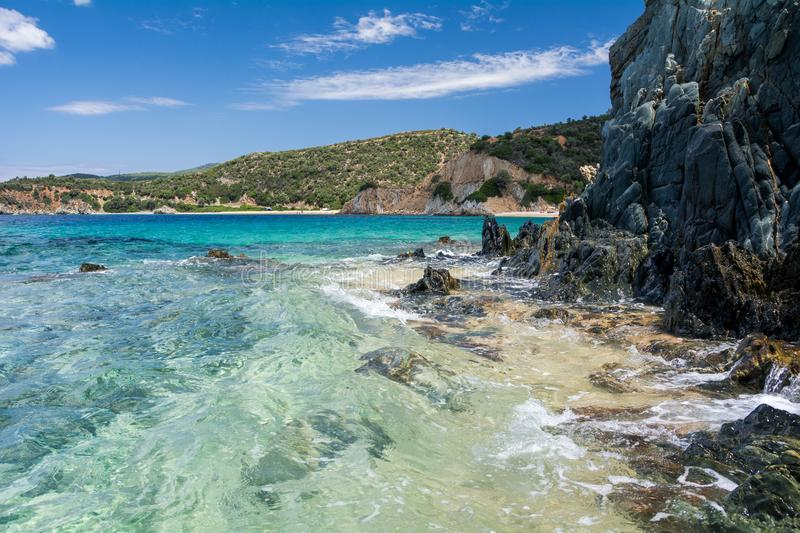 Peninsula view of the sea and the beach in clear sunny weather stock images