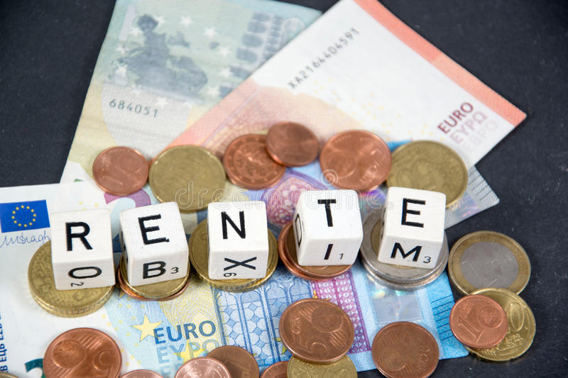 Penion. Rente - the german word for pension royalty free stock photo