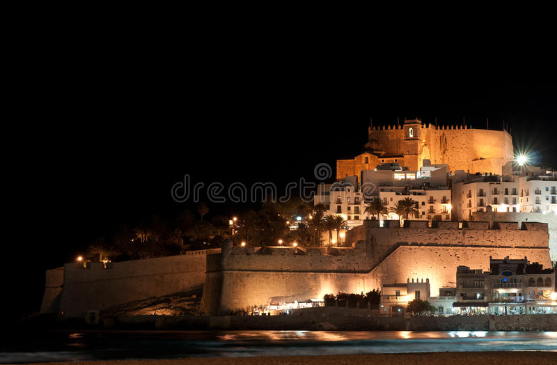 Download Peniscola castle at night stock image. Image of fortress - 26066135