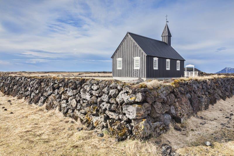 Penisola Islanda di Snaefellsnes della chiesa di Budir immagini stock