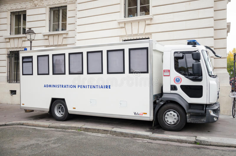 Penitentiary administration car Editorial. White penitentiary administration car bus vehicle outdoor in France stock photography