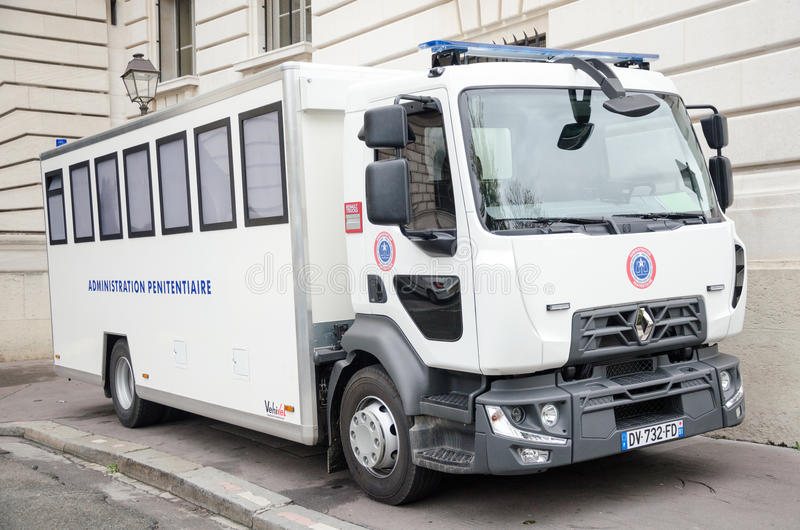 Penitentiary administration car Editorial. White penitentiary administration car bus vehicle outdoor in France stock photo