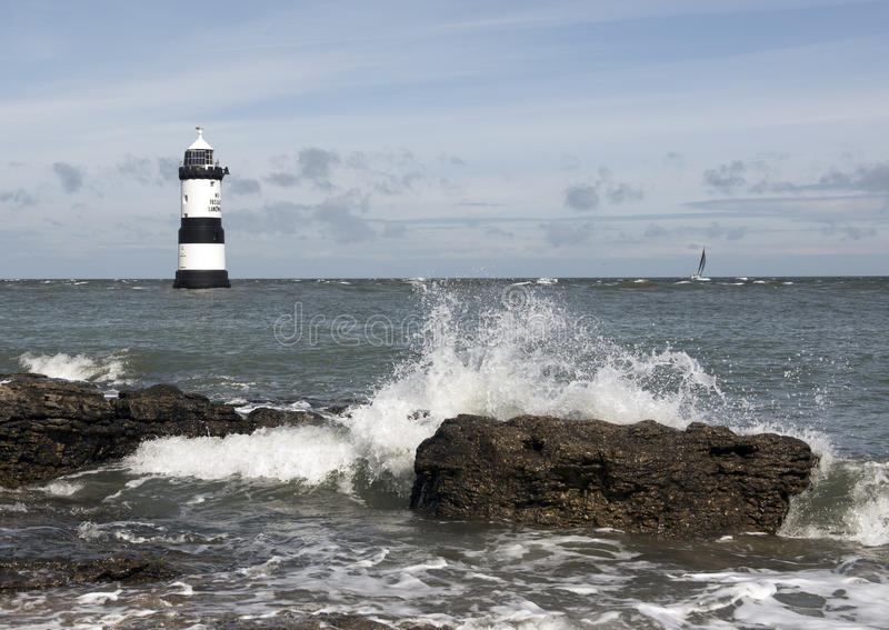Penmon Lighthouse Wales. Penmon lighthouse in Anglesey North Wales UK royalty free stock image