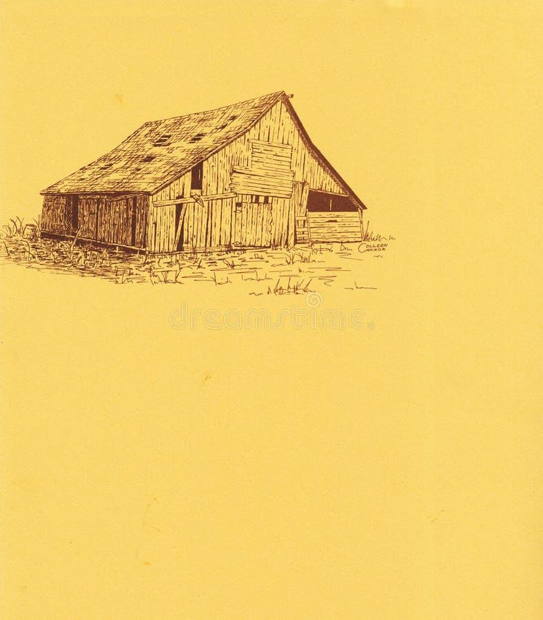 Penn- och färgpulverteckning av en gammal ladugård royaltyfria bilder