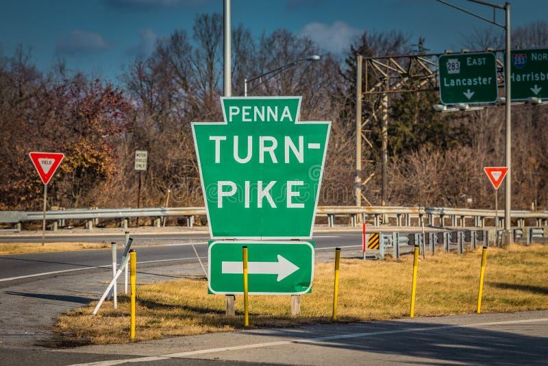 Penna收费公路主要入口标志 免版税库存图片