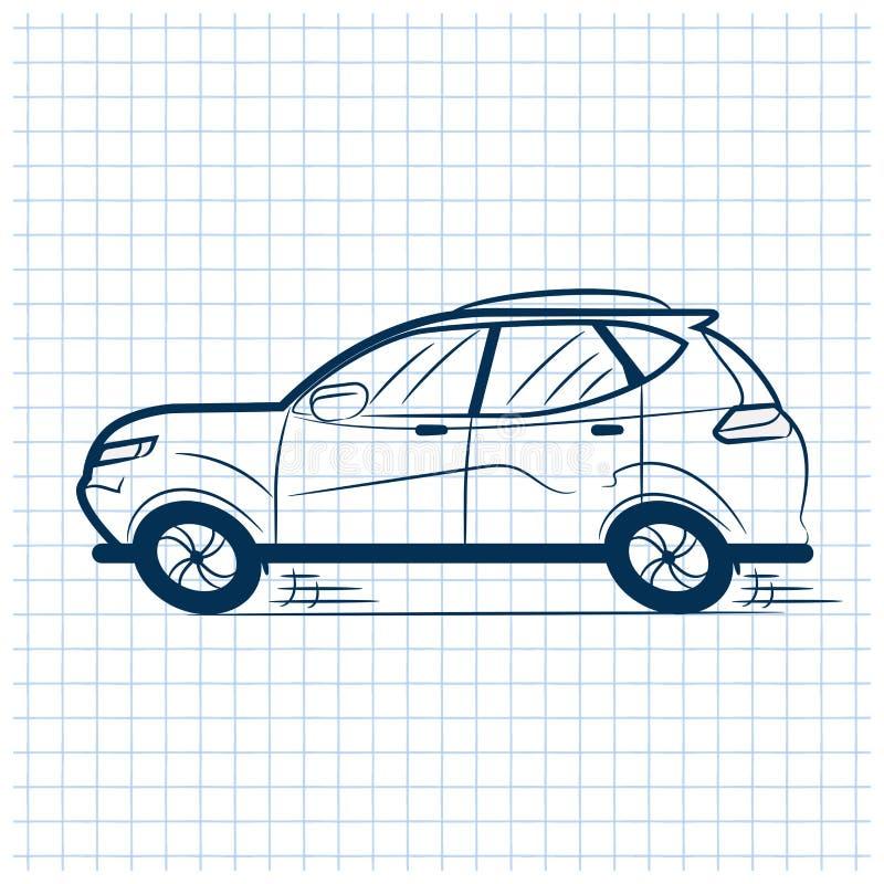 Penna blu tirata dell'automobile in un taccuino della scuola in una cellula segno Illustrazione di riserva di vettore royalty illustrazione gratis