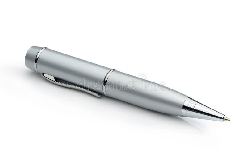 Penna d'argento del metallo isolata su un fondo bianco immagine stock libera da diritti