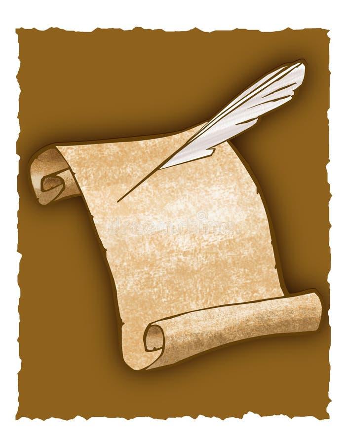 Penna del rotolo e di spoletta della pergamena illustrazione di stock