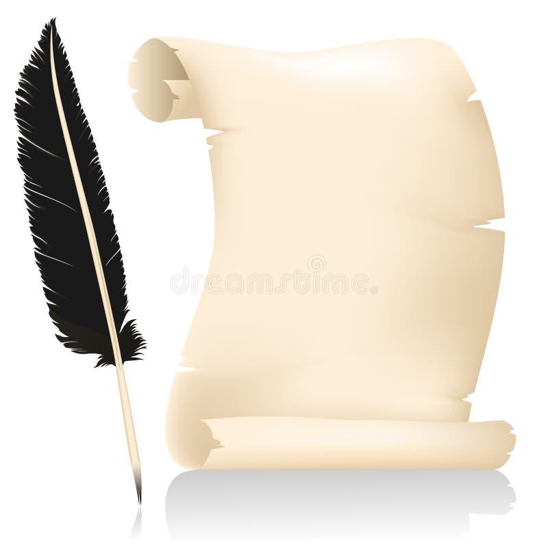 Penna della piuma & della pergamena illustrazione di stock