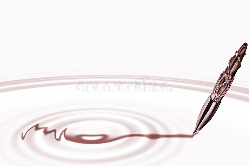 Penna di fontana con le ondulazioni illustrazione vettoriale