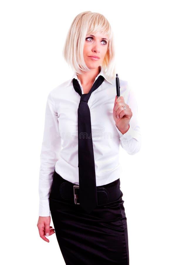 Penna di holding della donna di affari sopra bianco immagini stock libere da diritti
