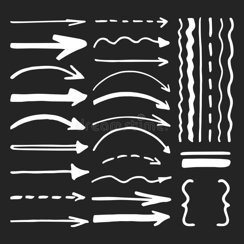 Penna di indicatore bianca scritta le frecce di vettore e le linee insieme di vettore illustrazione vettoriale