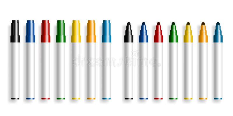 Penna di indicatore variopinta gli articoli per ufficio, sull'evidenziatore bianco dell'indicatore chiuso ed aperto, del fondo, i illustrazione vettoriale