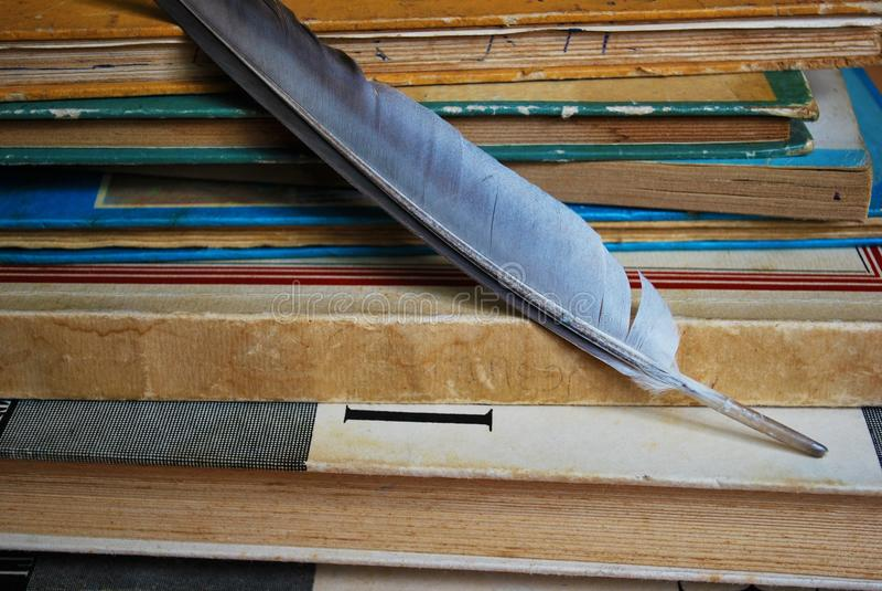 Penna di spoletta sui vecchi libri fotografie stock