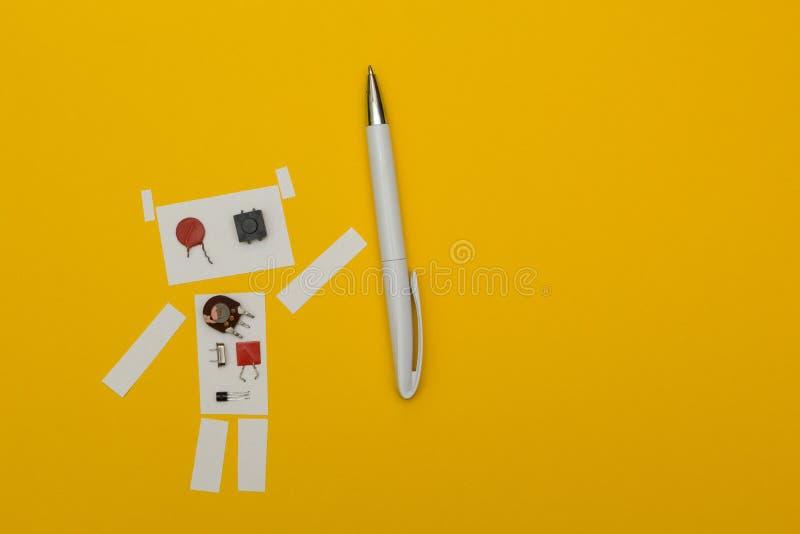 Penna di tenuta della carta del robot, spazio per testo illustrazione di stock