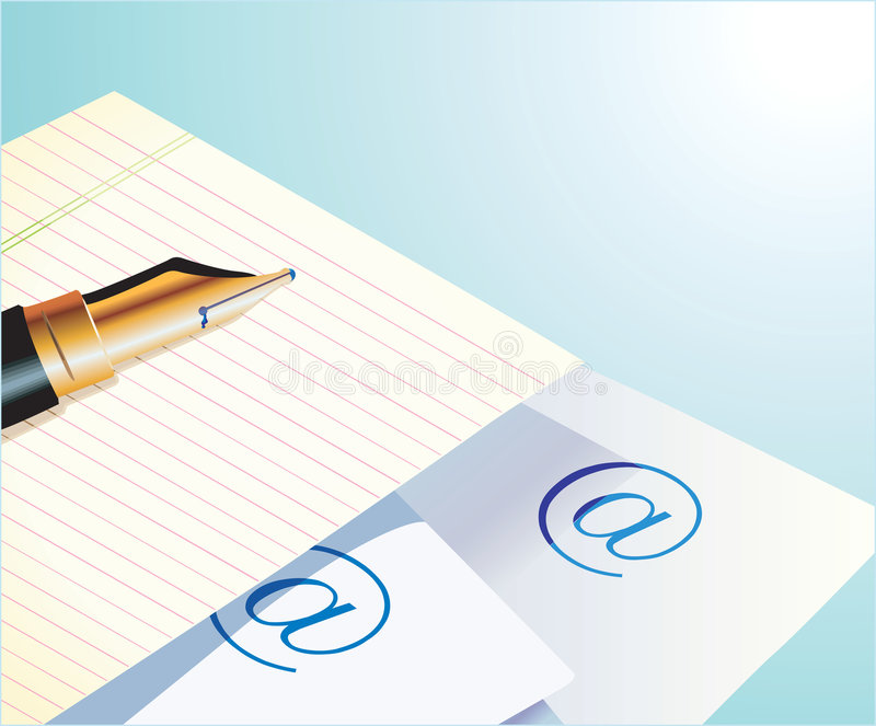 Penna, documento ed email royalty illustrazione gratis