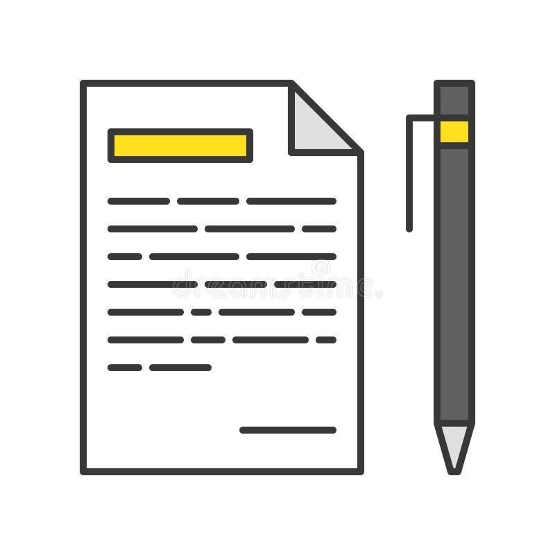 Penna e carta con la lista, icona del messaggio, profilo editabile del colpo illustrazione di stock