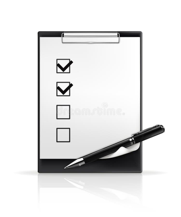 Penna e caselle di controllo royalty illustrazione gratis