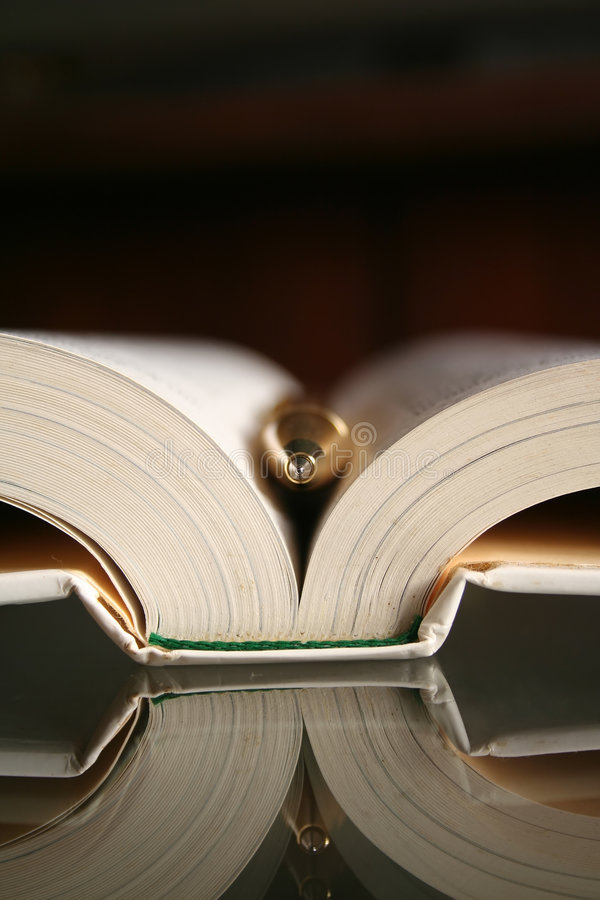 Penna e libro immagini stock