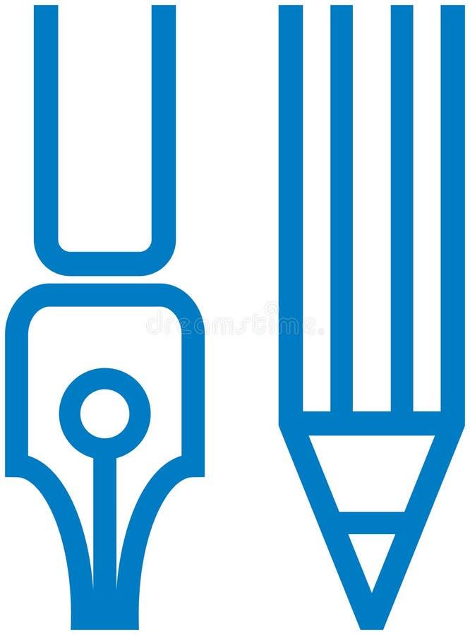 Penna e matita del â dell'illustrazione della cancelleria di vettore illustrazione vettoriale