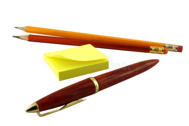 Penna ed autoadesivi. immagine stock libera da diritti