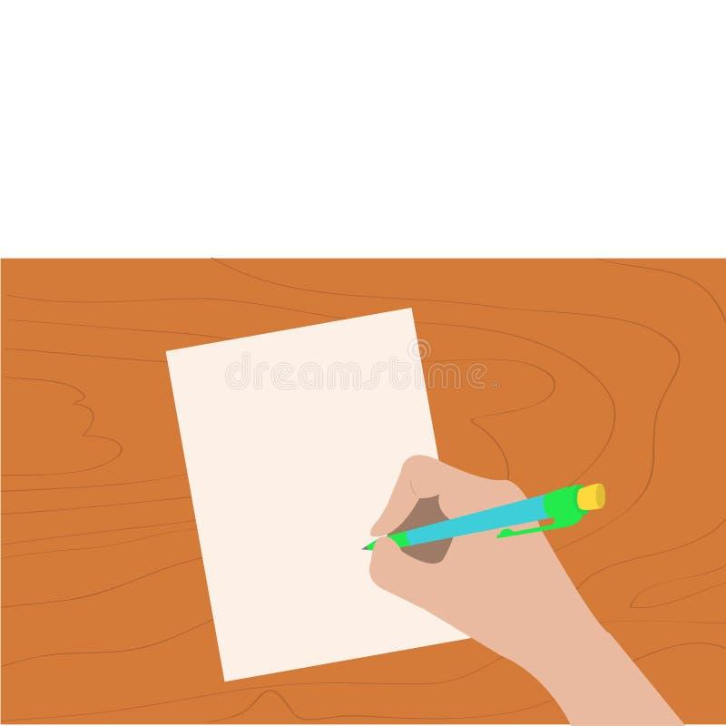 Penna för handhandstilteckning Kvinnainnehav ritar ditt ark för designillustrationpapper Träskrivbordtabell stock illustrationer