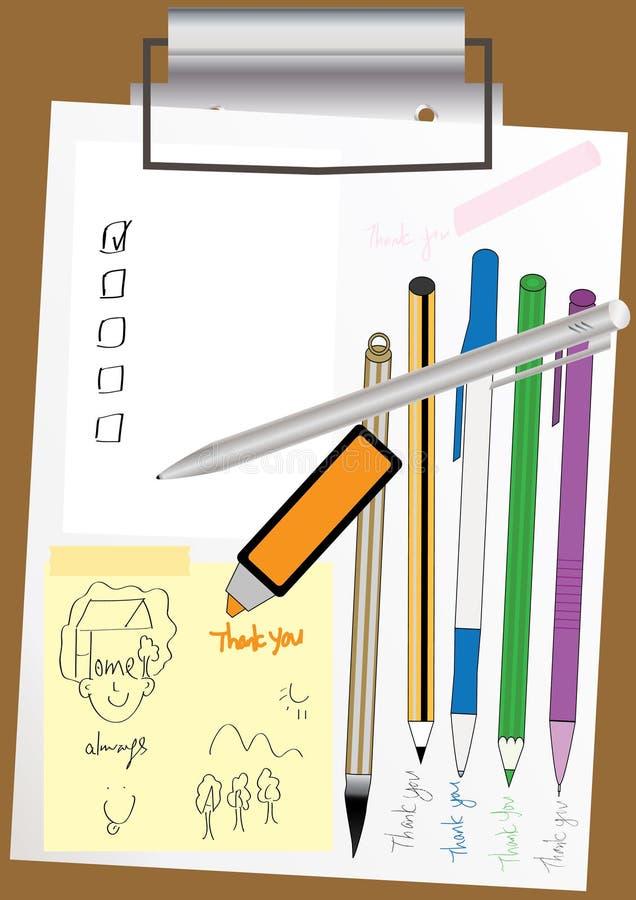 penna för papper för mapp för brädegemeps royaltyfri illustrationer