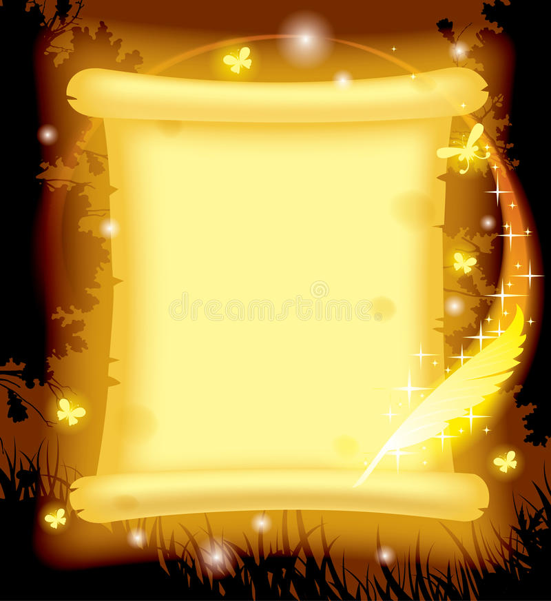 Penna leggiadramente di magia e della pergamena illustrazione di stock