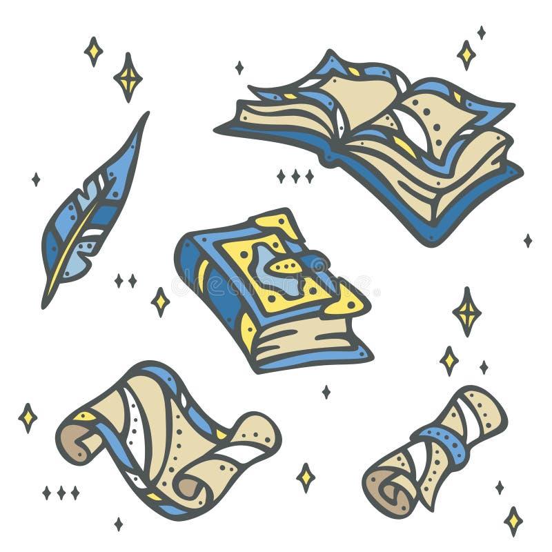 Penna magica dei libri, della carta, del rotolo e della piuma - magica illustrazione di stock