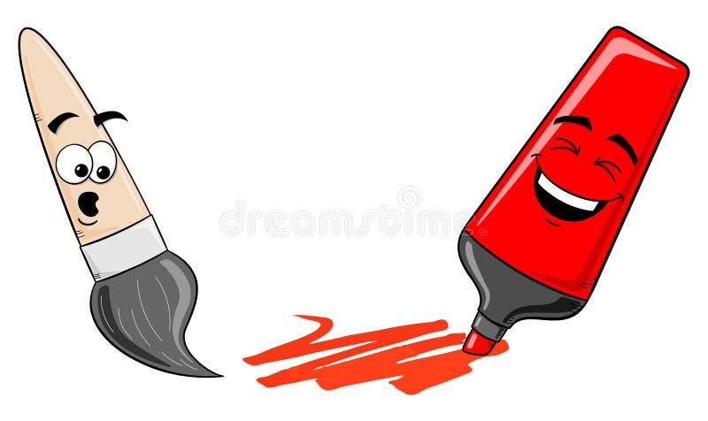 Penna och målarpensel för tecknad filmfiltspets på vit vektor illustrationer