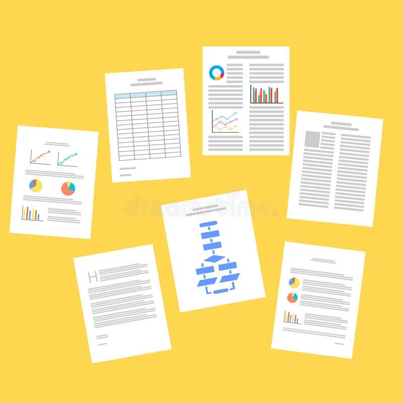Penna och räknemaskin på tabellen skrivbordsarbete Affärsrapporter stock illustrationer