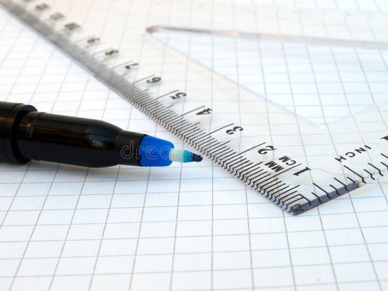 Penna, righello e taccuino immagine stock