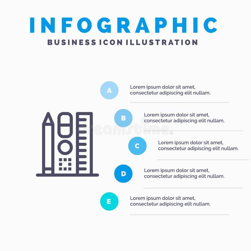 Penna, scala, istruzione, punti blu online del modello 5 di Infographics Linea modello di vettore dell'icona royalty illustrazione gratis