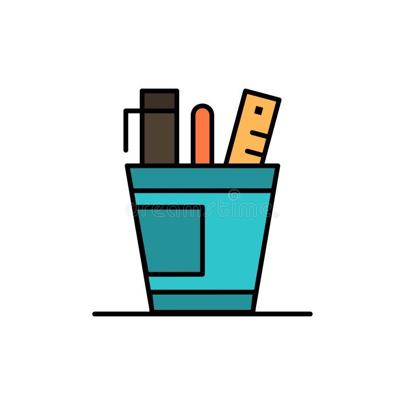 Penna, scrittorio, ufficio, organizzatore, rifornimenti, rifornimento, icona piana di colore degli strumenti Modello dell'insegna royalty illustrazione gratis