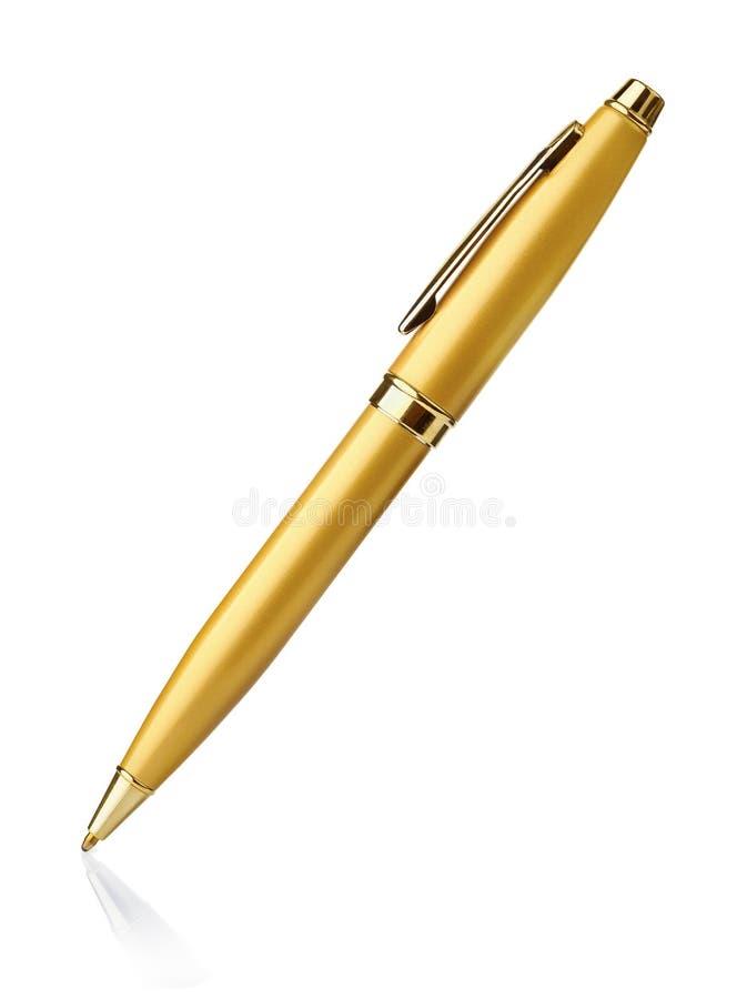 Penna a sfera dorata fotografia stock
