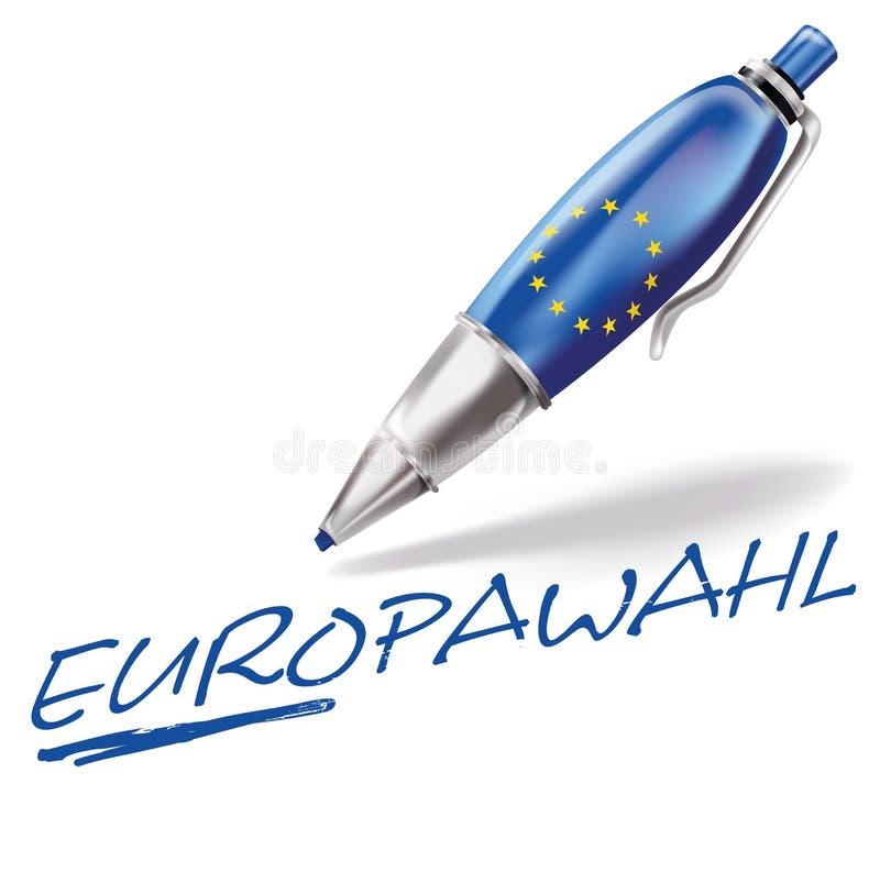 Penna a sfera per le elezioni europee illustrazione di stock