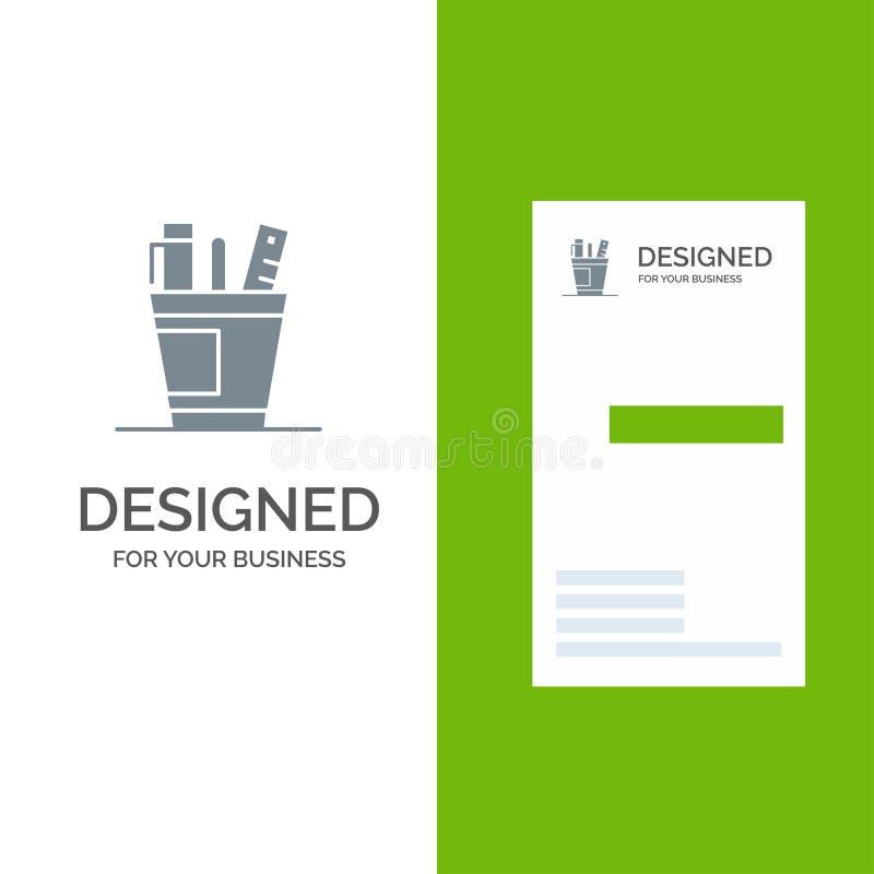 Penna, skrivbord, kontor, organisatör, tillförsel, tillförsel, hjälpmedel Grey Logo Design och mall för affärskort royaltyfri illustrationer