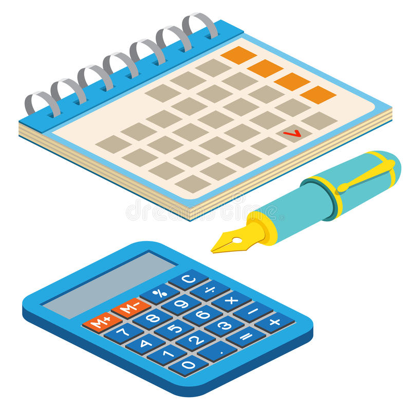 Penna stilografica, calendario e calcolatore isometrici sul backgro bianco royalty illustrazione gratis