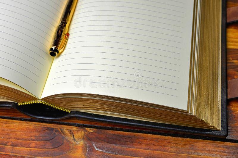 Penna stilografica dorata che pone fra le pagine allineate del giornale spesso fotografia stock libera da diritti