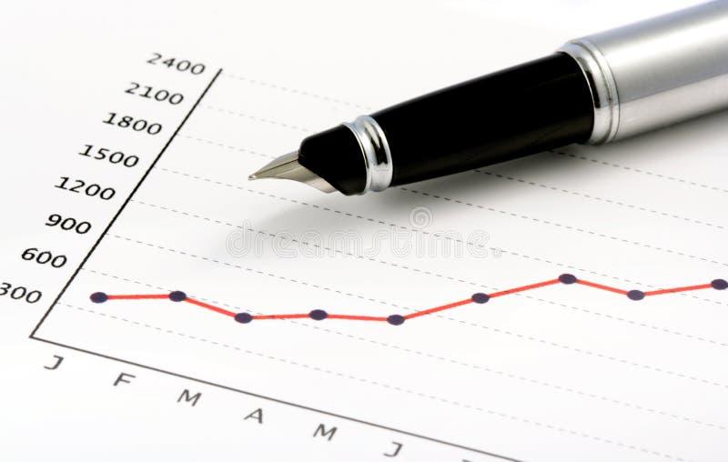 Penna sul grafico positivo dei guadagni fotografie stock libere da diritti