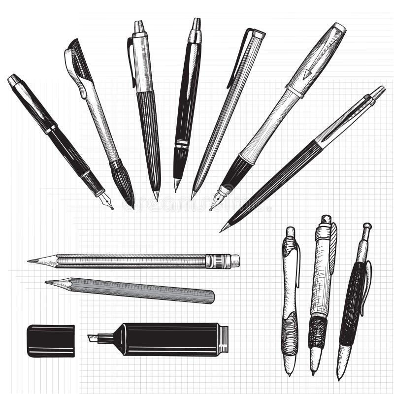Pennan, blyertspennan och markören skissar uppsättningen över sömlös pappers- bakgrund. stock illustrationer
