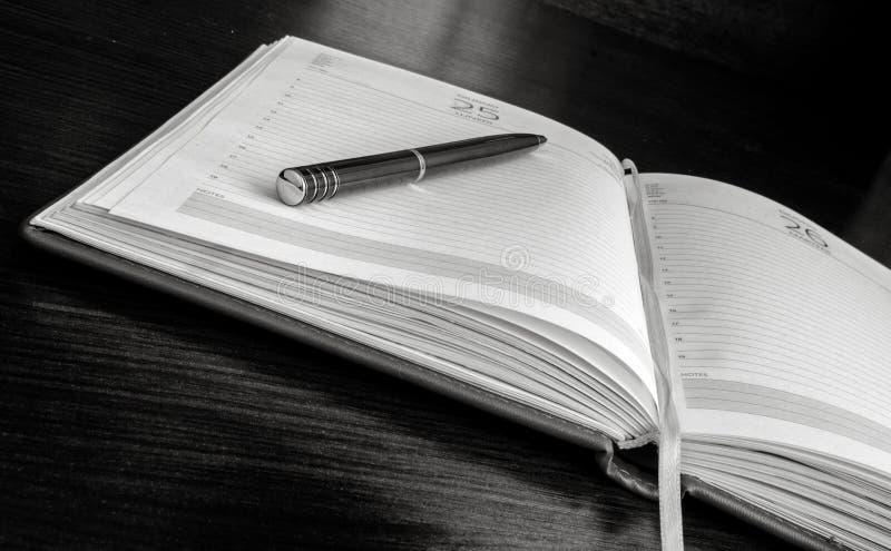 Pennan ligger på öppna tomma sidor av en organisatör fotografering för bildbyråer