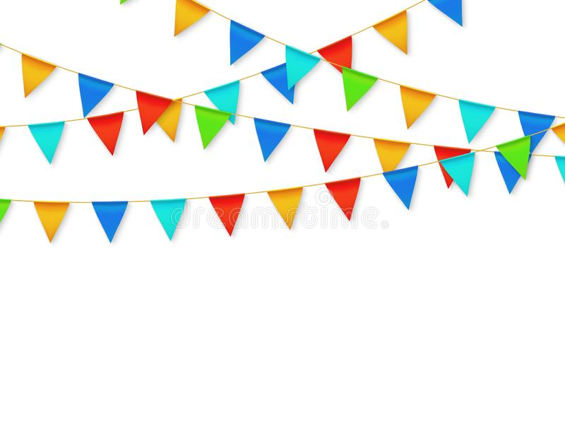 Pennant flag garland. Birthday party fiesta carnival decoration. Garlands with color flags 3d vector illustration. Carnival decoration hanging on rope stock illustration