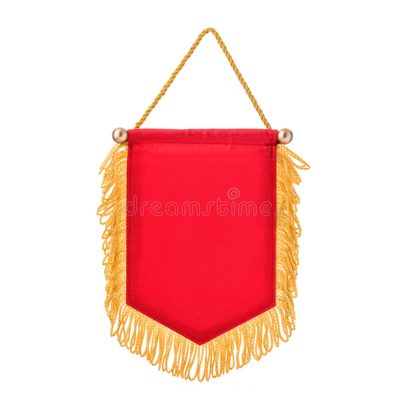 Pennant red with fringe, white background. Pennant red with fringe, on isolated white background stock photo