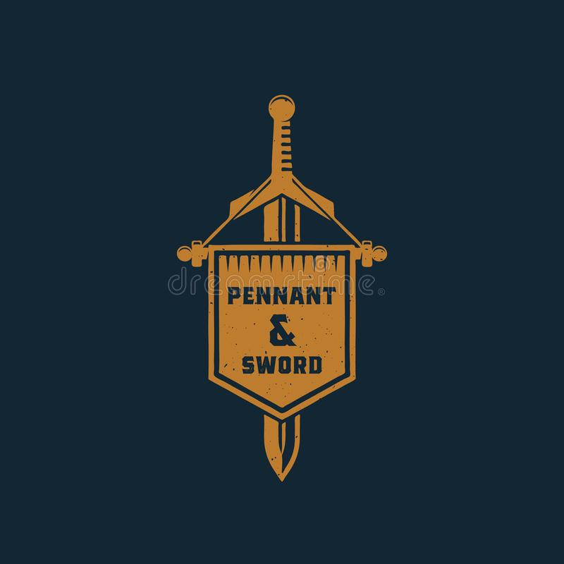 Pennant and Sword Abstract Vector Sign, Symbol or Logo Template. Vintage Emblem with Shabby Textures and Retro. Typography. Isolated vector illustration