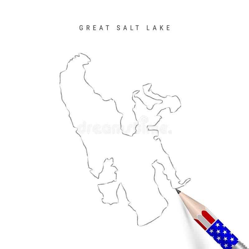 Pennanteckning för vektorkarta för Great Salt Lake Konturkarta för Salt Lake med penna i amerikanska flaggfärger stock illustrationer