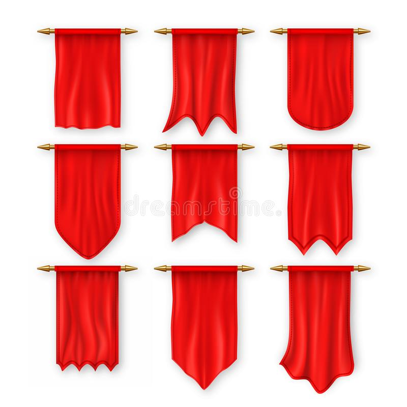 Pennat Flag Set Vector. Red Empty Template. Pennon Fabric Blank. Advertising Canvas Banner. Hanging Wall Pennat royalty free illustration