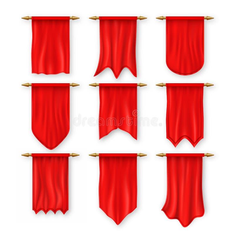 Pennats-Flaggen-Satz-Vektor Rote leere Schablone Pennon-Gewebe-freier Raum Werbung der Segeltuch-Fahne Hängende Wand Pennat lizenzfreie abbildung