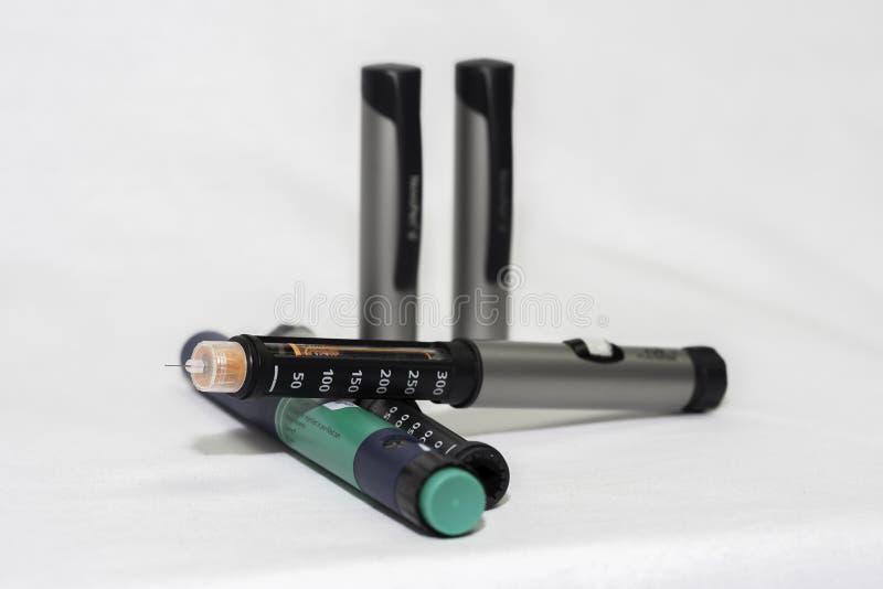 Penne dell'insulina immagini stock