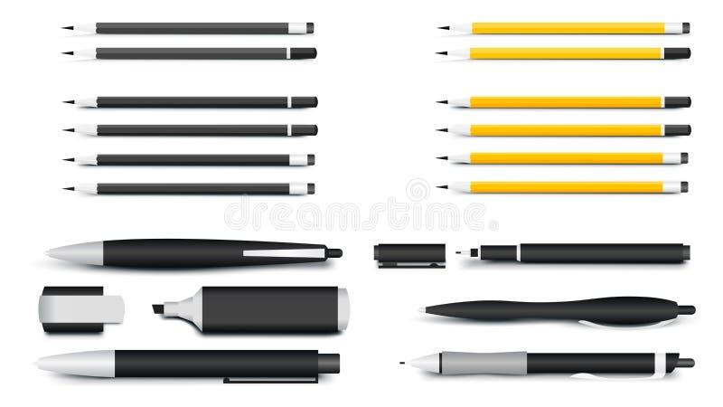 Penne, matite, indicatori e Textliner La maggior parte dei materiali di scrittura popolari per i modelli di identità corporativa  royalty illustrazione gratis